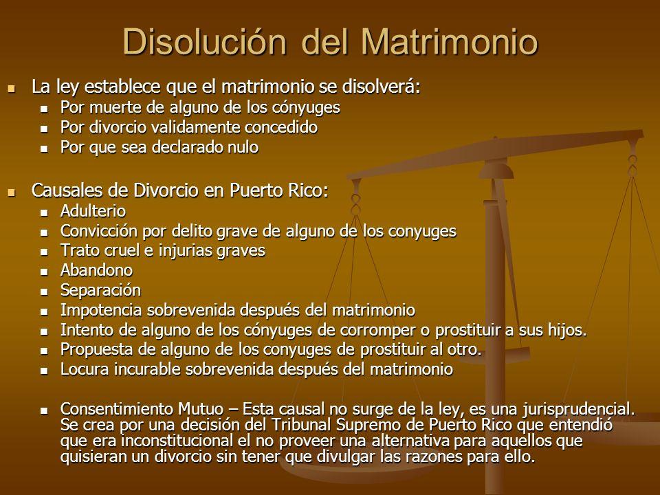 Disolución del Matrimonio La ley establece que el matrimonio se disolverá: La ley establece que el matrimonio se disolverá: Por muerte de alguno de lo