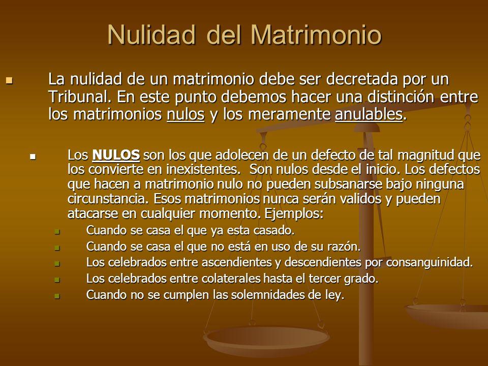 Nulidad del Matrimonio La nulidad de un matrimonio debe ser decretada por un Tribunal. En este punto debemos hacer una distinción entre los matrimonio