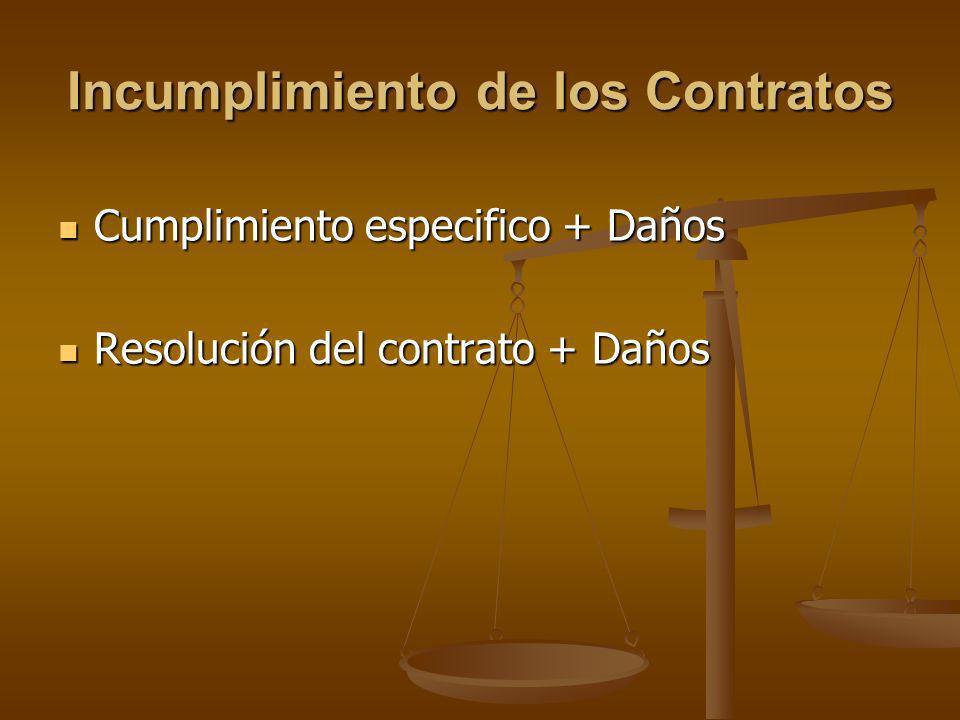 Incumplimiento de los Contratos Cumplimiento especifico + Daños Cumplimiento especifico + Daños Resolución del contrato + Daños Resolución del contrat