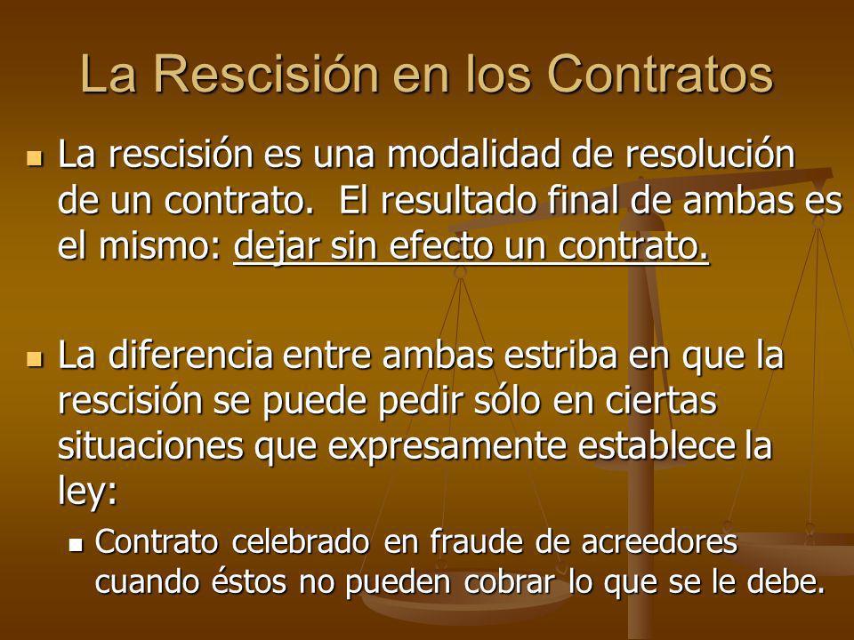 La Rescisión en los Contratos La rescisión es una modalidad de resolución de un contrato. El resultado final de ambas es el mismo: dejar sin efecto un