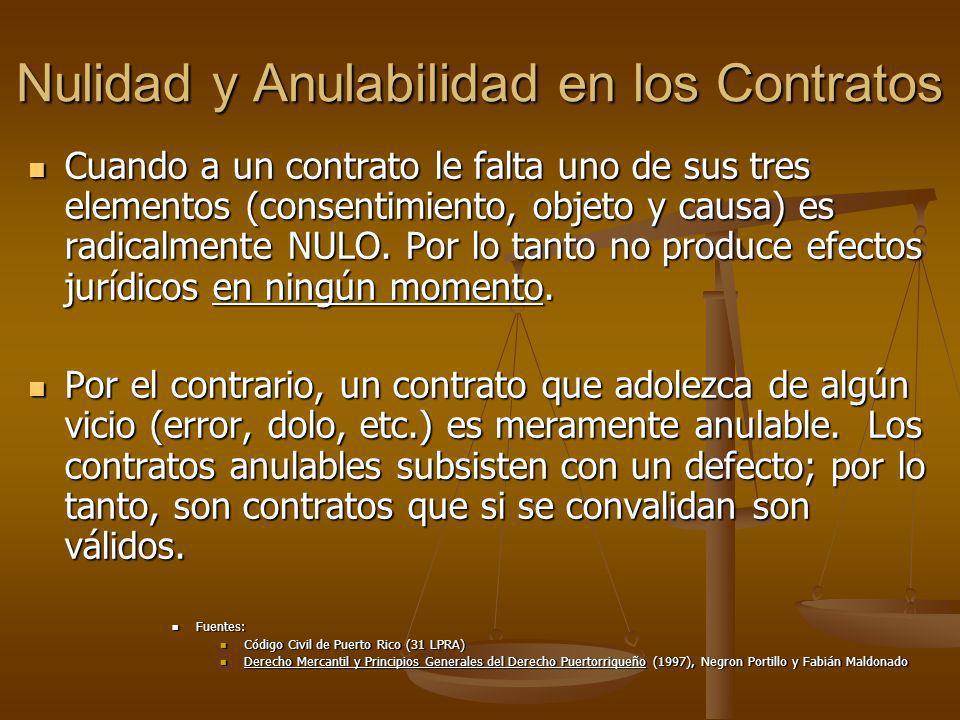 Nulidad y Anulabilidad en los Contratos Cuando a un contrato le falta uno de sus tres elementos (consentimiento, objeto y causa) es radicalmente NULO.