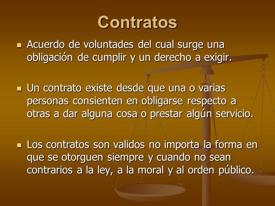 Contratos Acuerdo de voluntades del cual surge una obligación de cumplir y un derecho a exigir. Acuerdo de voluntades del cual surge una obligación de