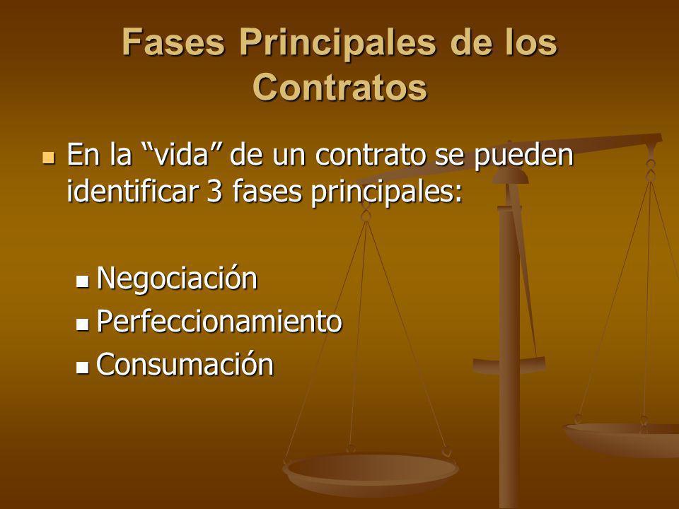 Fases Principales de los Contratos En la vida de un contrato se pueden identificar 3 fases principales: En la vida de un contrato se pueden identifica