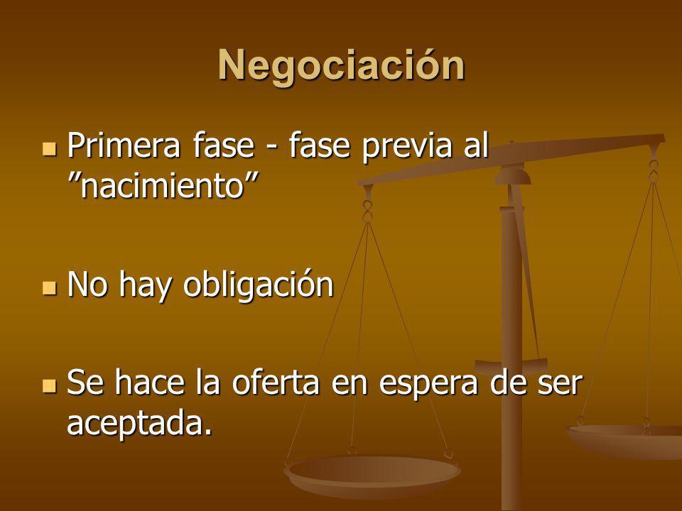 Negociación Primera fase - fase previa al nacimiento Primera fase - fase previa al nacimiento No hay obligación No hay obligación Se hace la oferta en