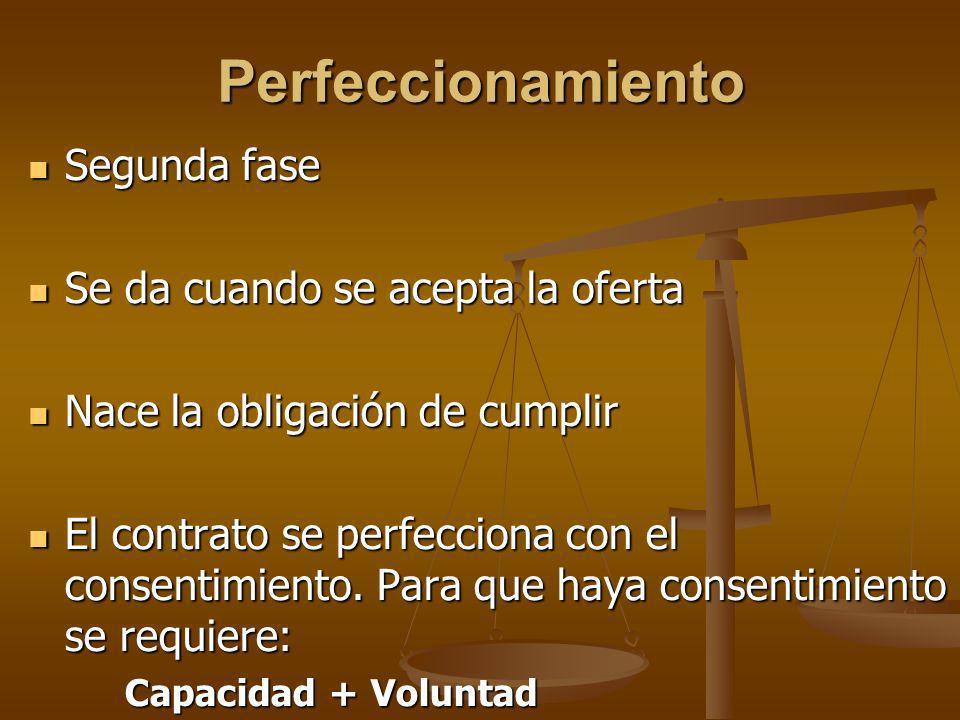 Perfeccionamiento Segunda fase Segunda fase Se da cuando se acepta la oferta Se da cuando se acepta la oferta Nace la obligación de cumplir Nace la ob