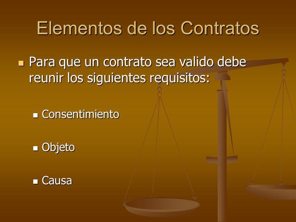 Elementos de los Contratos Para que un contrato sea valido debe reunir los siguientes requisitos: Para que un contrato sea valido debe reunir los sigu