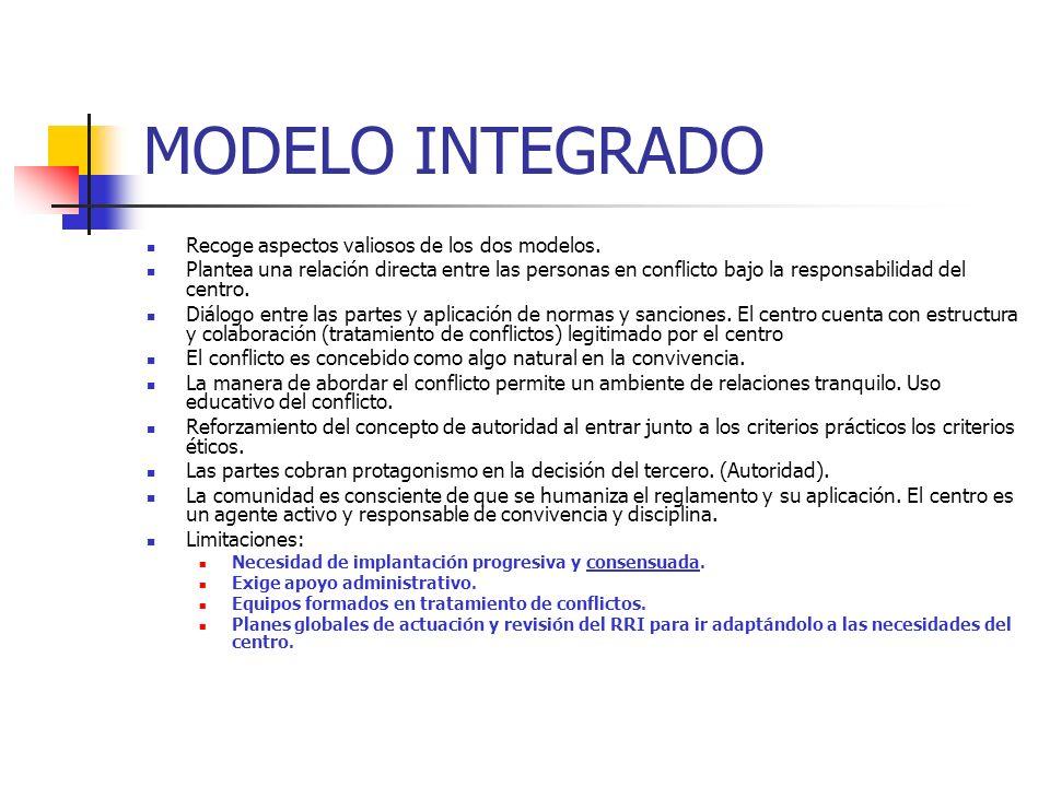 MODELO INTEGRADO Recoge aspectos valiosos de los dos modelos. Plantea una relación directa entre las personas en conflicto bajo la responsabilidad del