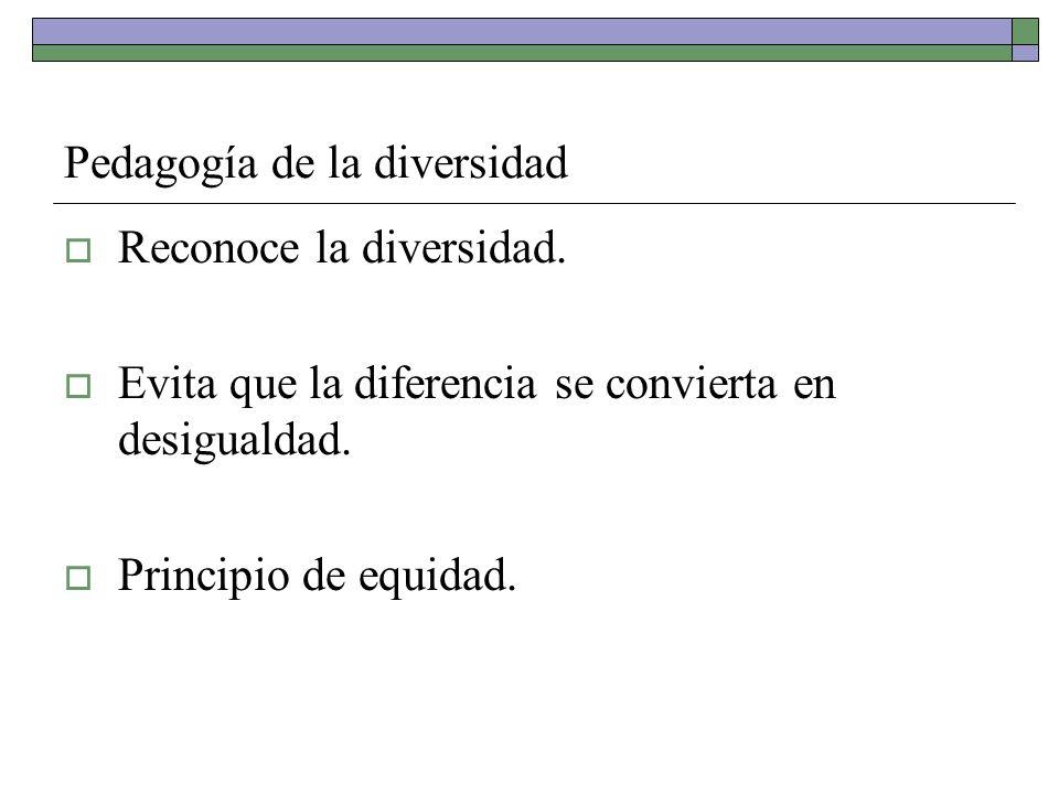 Pedagogía de la diversidad Reconoce la diversidad. Evita que la diferencia se convierta en desigualdad. Principio de equidad.