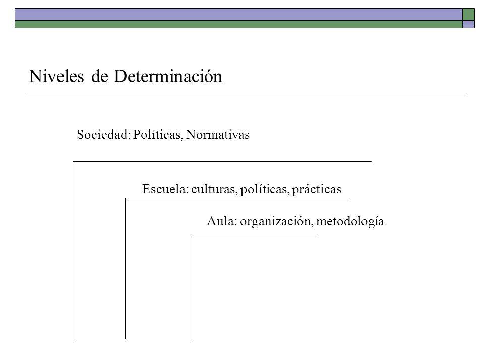 Niveles de Determinación Sociedad: Políticas, Normativas Escuela: culturas, políticas, prácticas Aula: organización, metodología