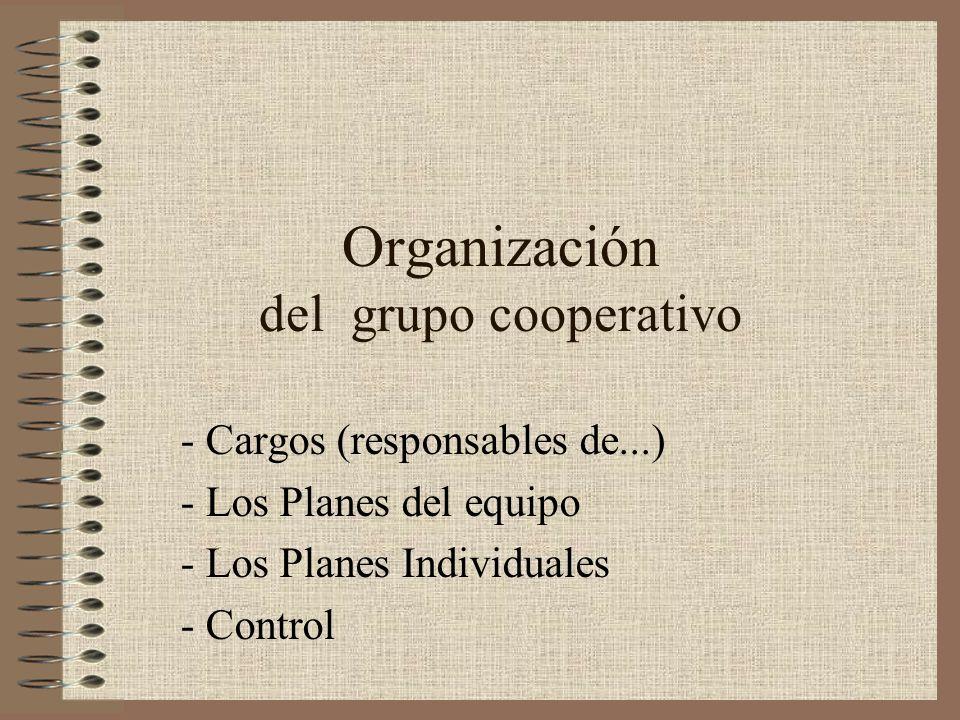 Organización del grupo cooperativo - Cargos (responsables de...) - Los Planes del equipo - Los Planes Individuales - Control