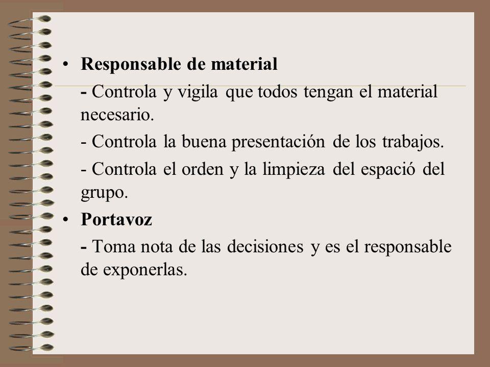 Responsable de material - Controla y vigila que todos tengan el material necesario. - Controla la buena presentación de los trabajos. - Controla el or