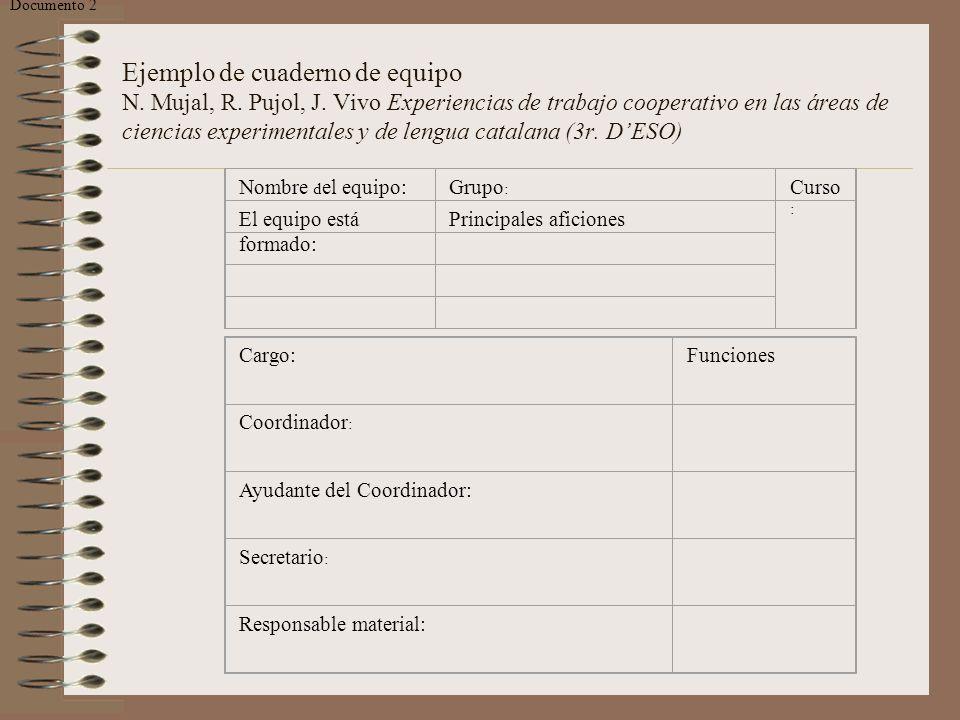 Ejemplo de cuaderno de equipo N. Mujal, R. Pujol, J. Vivo Experiencias de trabajo cooperativo en las áreas de ciencias experimentales y de lengua cata