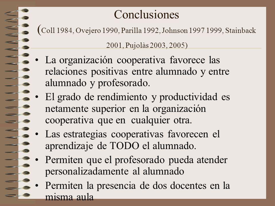 Conclusiones ( Coll 1984, Ovejero 1990, Parilla 1992, Johnson 1997 1999, Stainback 2001, Pujolàs 2003, 2005) La organización cooperativa favorece las