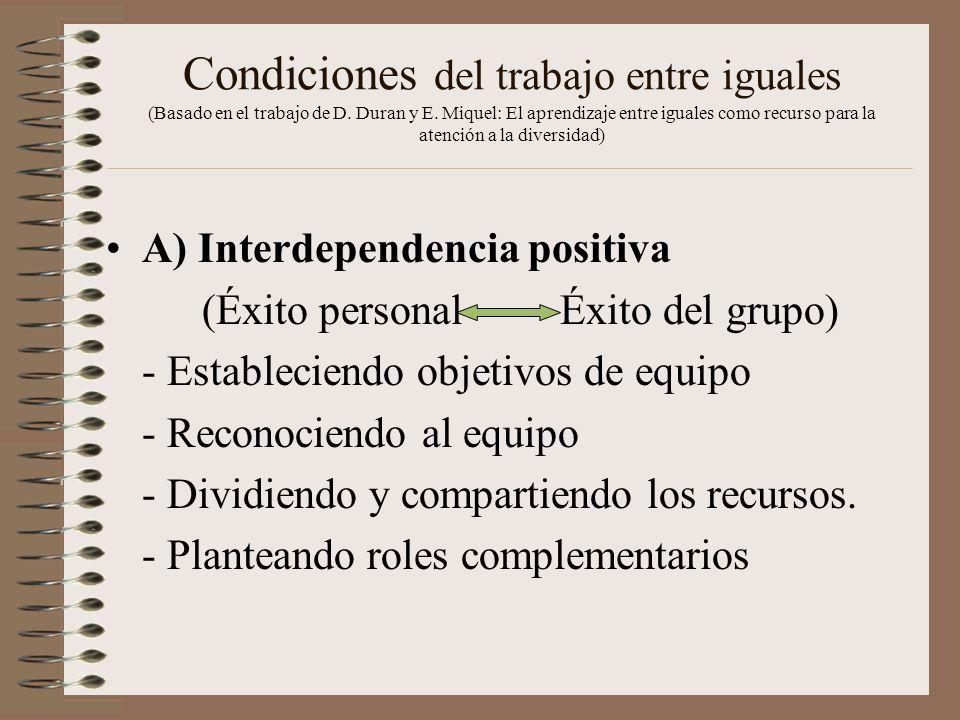 Condiciones del trabajo entre iguales (Basado en el trabajo de D. Duran y E. Miquel: El aprendizaje entre iguales como recurso para la atención a la d