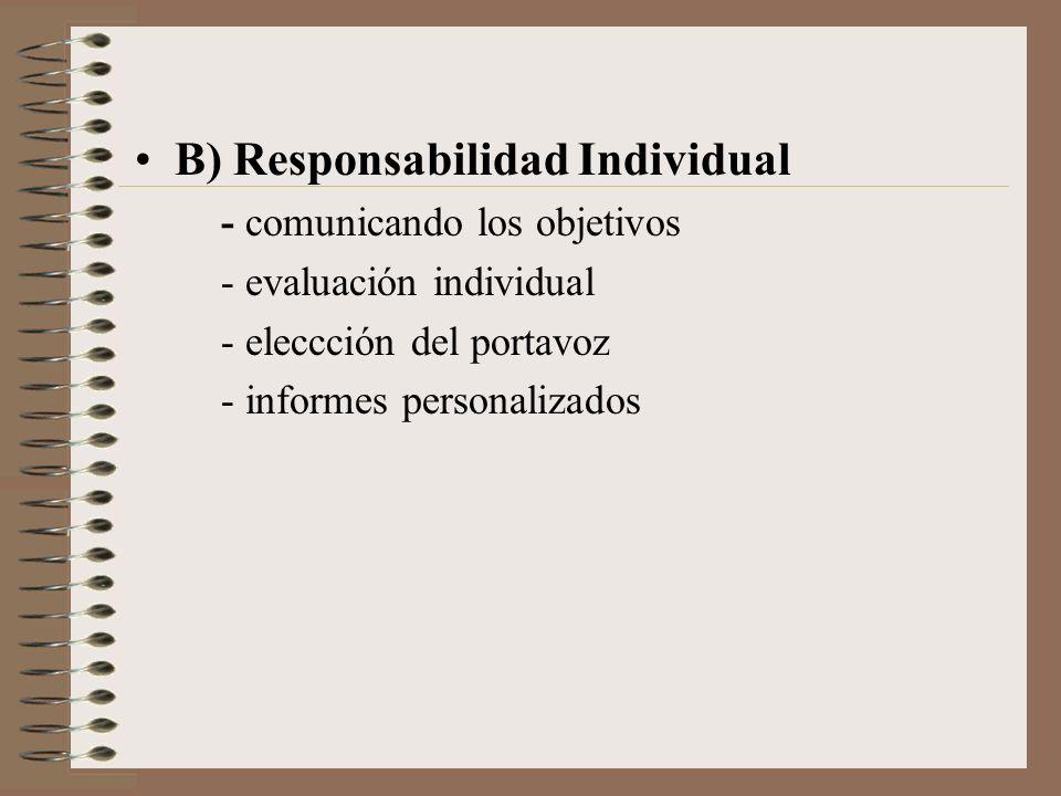 B) Responsabilidad Individual - comunicando los objetivos - evaluación individual - eleccción del portavoz - informes personalizados