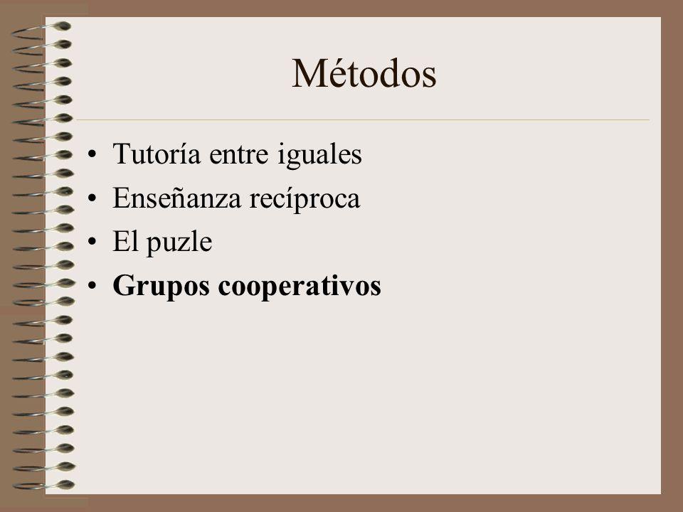 Métodos Tutoría entre iguales Enseñanza recíproca El puzle Grupos cooperativos