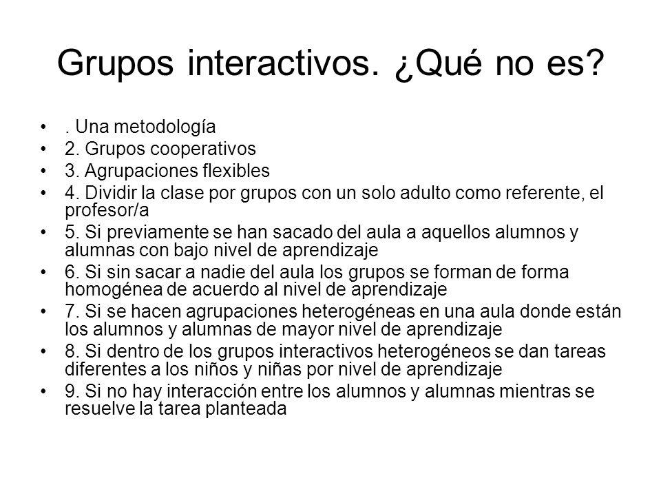 Grupos interactivos. ¿Qué no es?. Una metodología 2. Grupos cooperativos 3. Agrupaciones flexibles 4. Dividir la clase por grupos con un solo adulto c