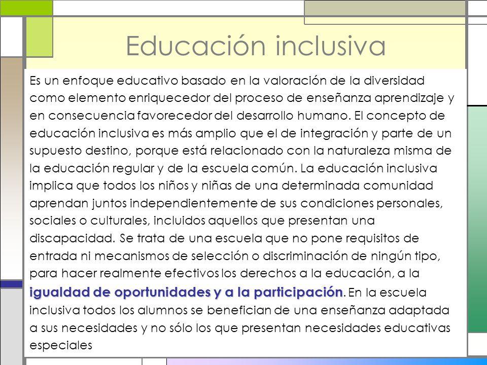 Educación inclusiva igualdad de oportunidades y a la participación Es un enfoque educativo basado en la valoración de la diversidad como elemento enri