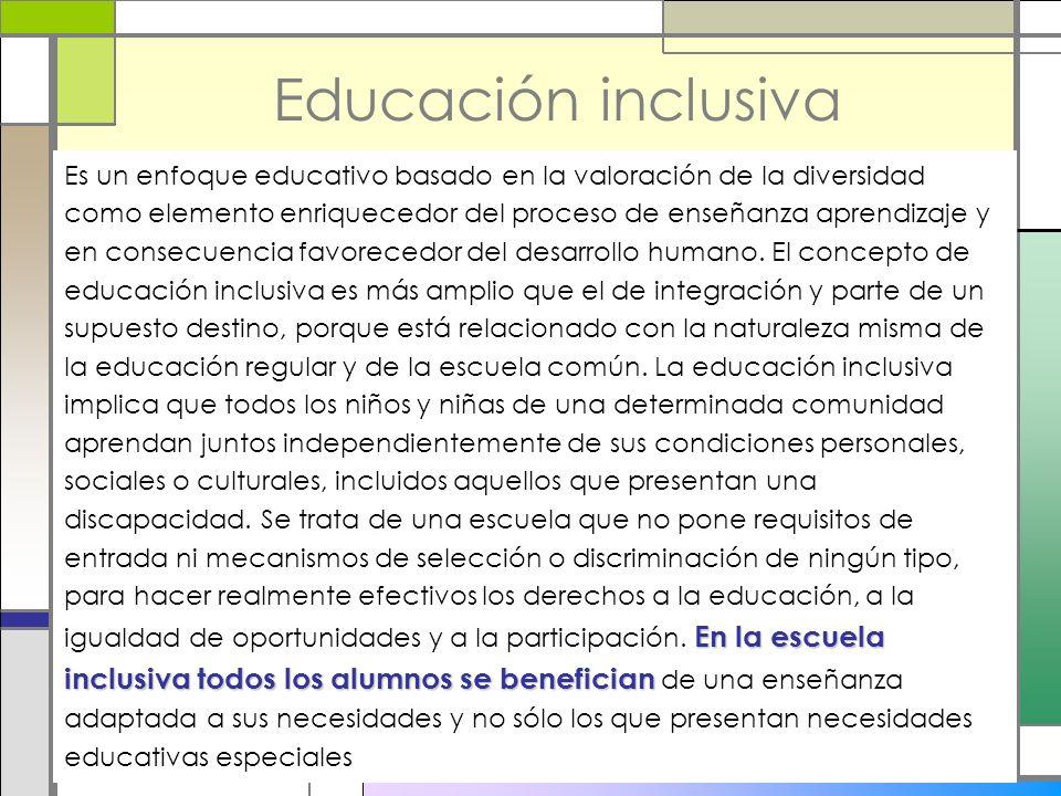 Educación inclusiva En la escuela inclusiva todos los alumnos se benefician Es un enfoque educativo basado en la valoración de la diversidad como elem