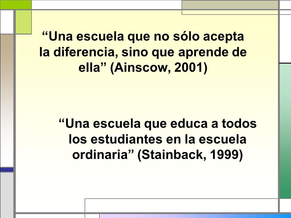 Una escuela que no sólo acepta la diferencia, sino que aprende de ella (Ainscow, 2001) Una escuela que educa a todos los estudiantes en la escuela ord