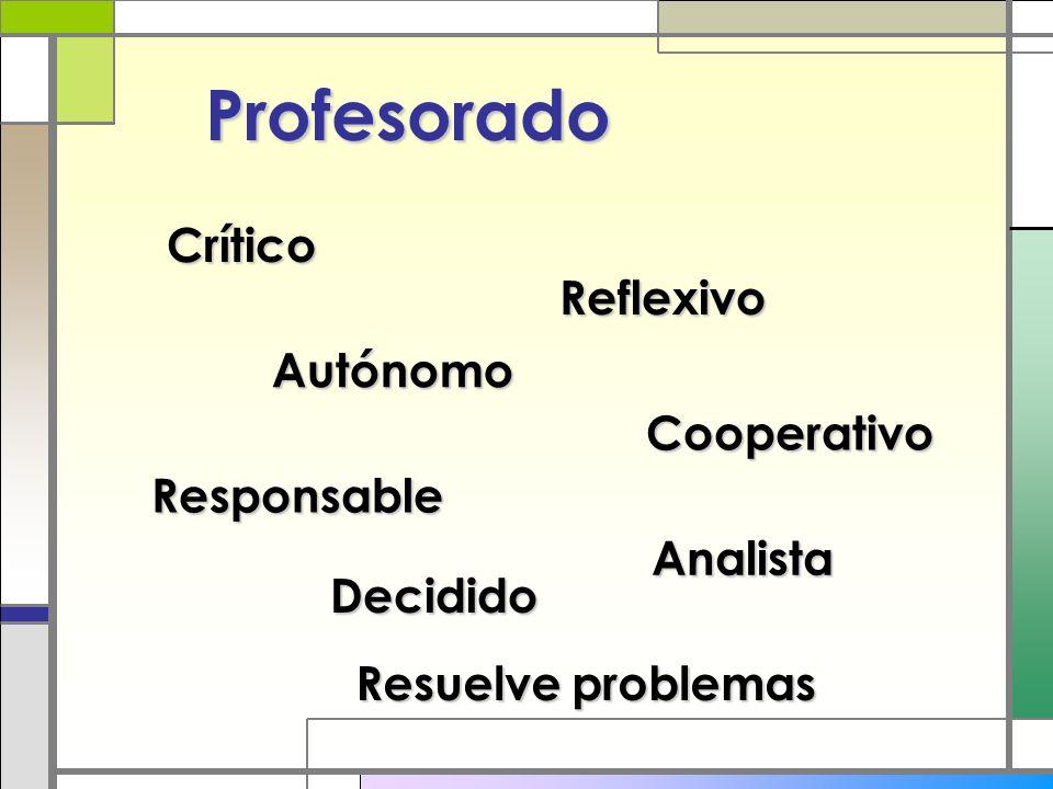 Profesorado Crítico Reflexivo Cooperativo Autónomo Responsable Analista Decidido Resuelve problemas