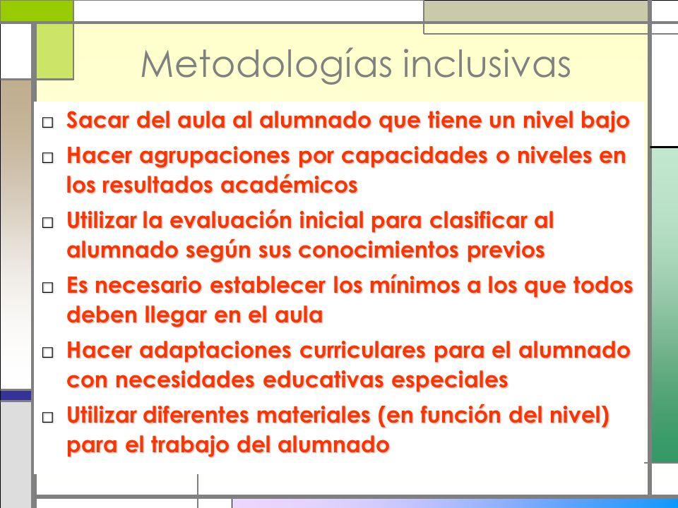 Metodologías inclusivas Sacar del aula al alumnado que tiene un nivel bajo Sacar del aula al alumnado que tiene un nivel bajo Hacer agrupaciones por c