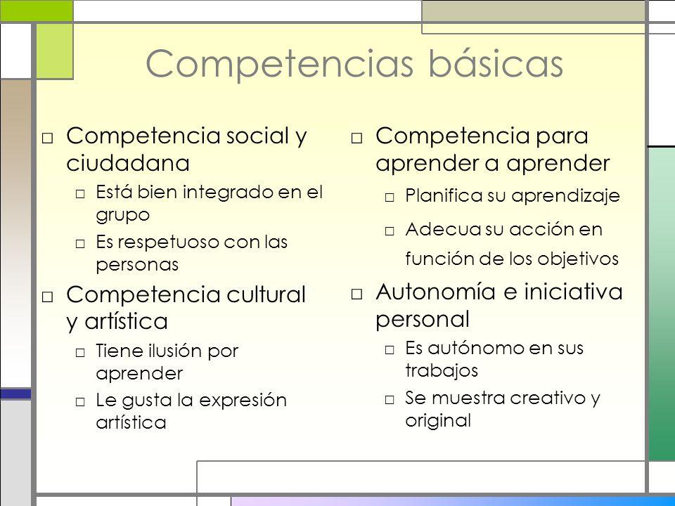 Competencias básicas Competencia social y ciudadana Está bien integrado en el grupo Es respetuoso con las personas Competencia cultural y artística Ti