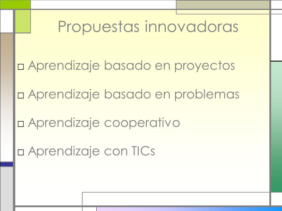 Propuestas innovadoras Aprendizaje basado en proyectos Aprendizaje basado en problemas Aprendizaje cooperativo Aprendizaje con TICs