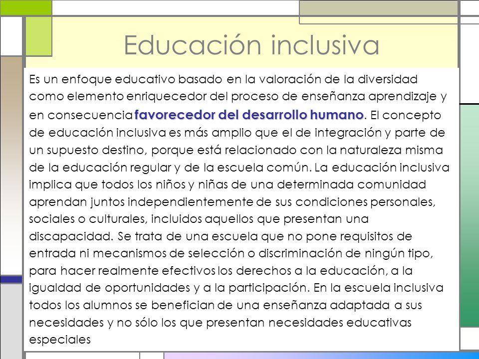 Educación inclusiva favorecedor del desarrollo humano Es un enfoque educativo basado en la valoración de la diversidad como elemento enriquecedor del
