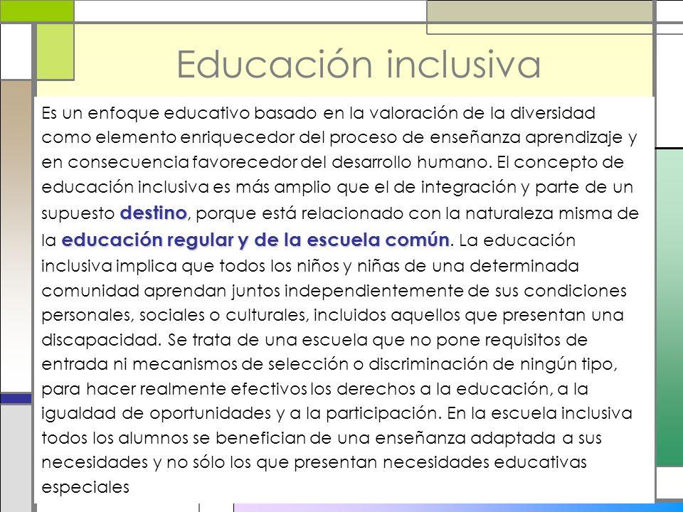Educación inclusiva destino educación regular y de la escuela común Es un enfoque educativo basado en la valoración de la diversidad como elemento enr
