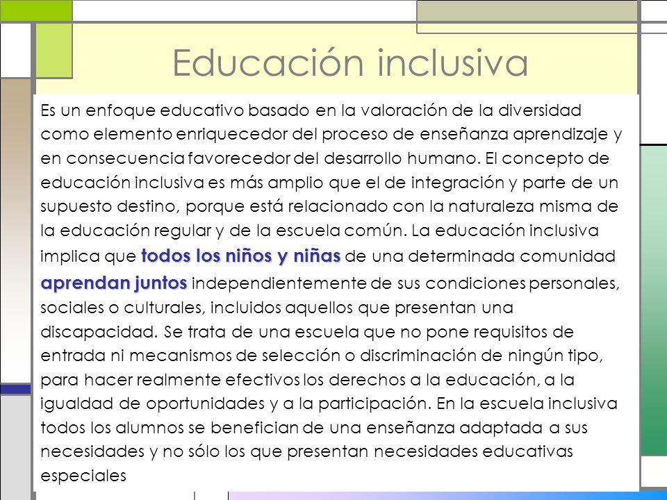 Educación inclusiva todos los niños y niñas aprendan juntos Es un enfoque educativo basado en la valoración de la diversidad como elemento enriquecedo