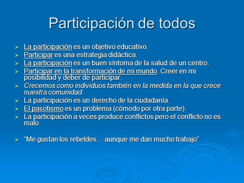 Participación de todos La participación es un objetivo educativo. La participación es un objetivo educativo. Participar es una estrategia didáctica. P