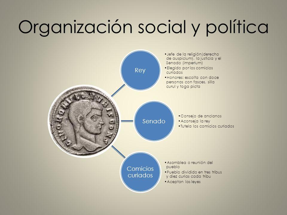 Organización social y política Rey Jefe de la religión(derecho de auspicium), la justicia y el Senado (imperium) Elegido por los comicios curiados Hon