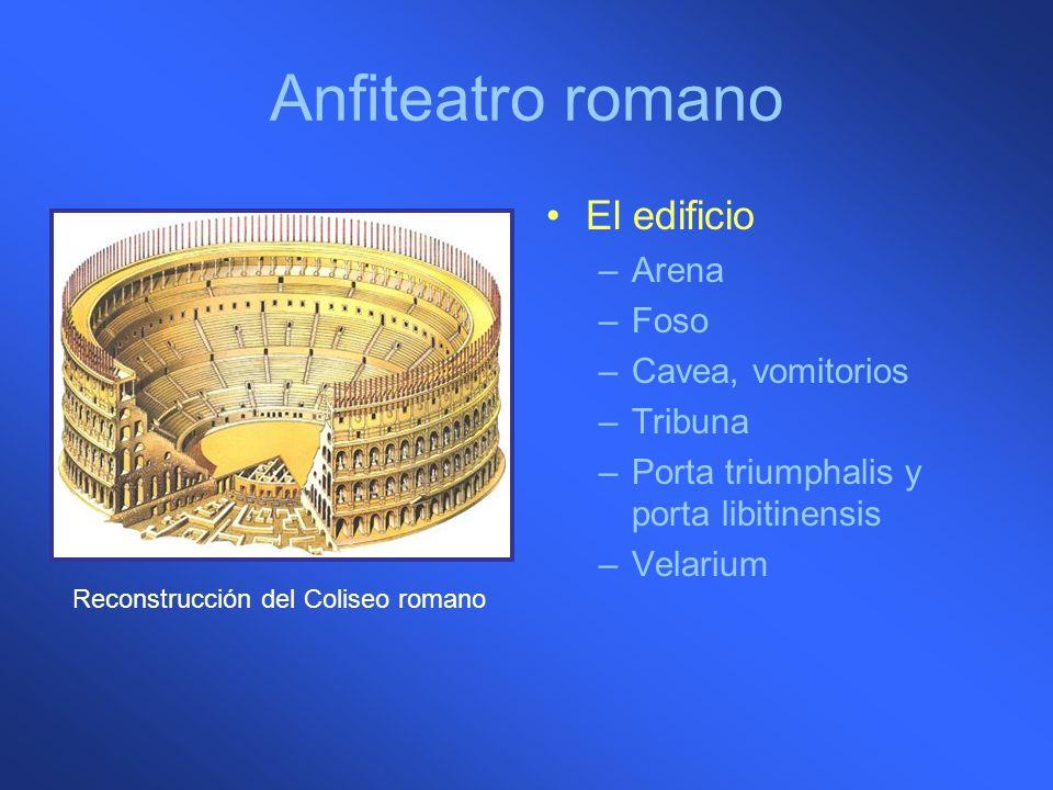Anfiteatro romano El edificio –Arena –Foso –Cavea, vomitorios –Tribuna –Porta triumphalis y porta libitinensis –Velarium Reconstrucción del Coliseo ro