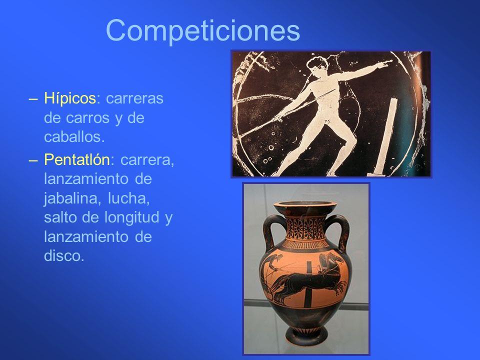 Competiciones –Hípicos: carreras de carros y de caballos. –Pentatlón: carrera, lanzamiento de jabalina, lucha, salto de longitud y lanzamiento de disc
