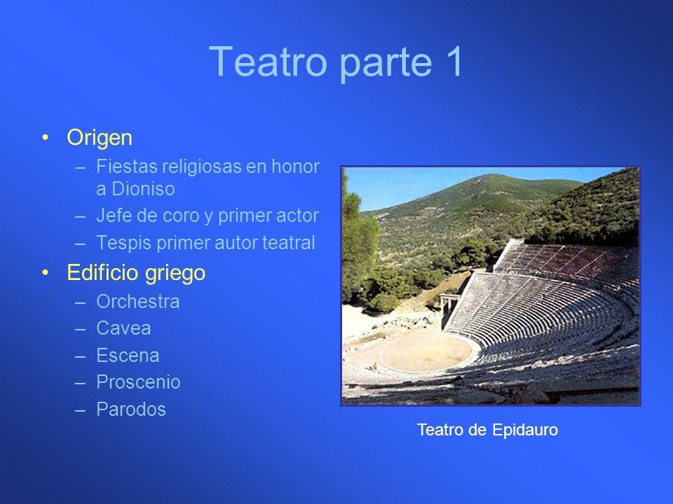 Teatro parte 1 Origen –Fiestas religiosas en honor a Dioniso –Jefe de coro y primer actor –Tespis primer autor teatral Edificio griego –Orchestra –Cav