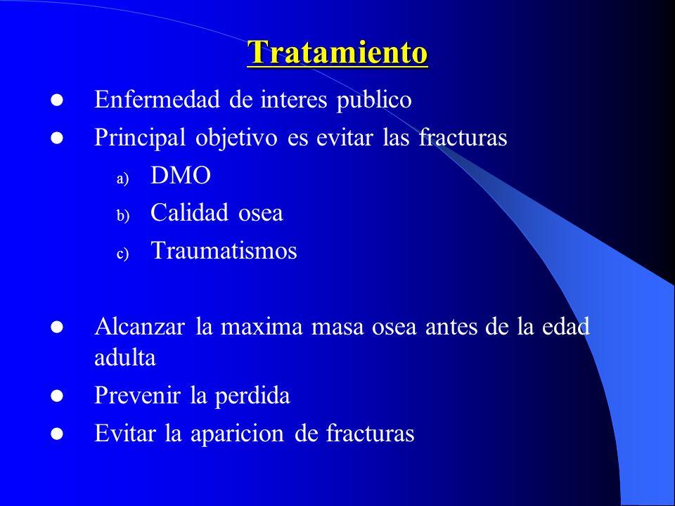 Tratamiento Enfermedad de interes publico Principal objetivo es evitar las fracturas a) DMO b) Calidad osea c) Traumatismos Alcanzar la maxima masa os