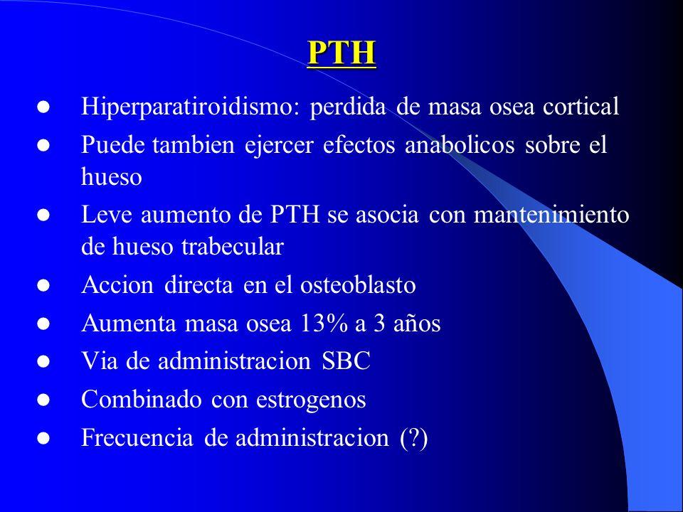 PTH Hiperparatiroidismo: perdida de masa osea cortical Puede tambien ejercer efectos anabolicos sobre el hueso Leve aumento de PTH se asocia con mante