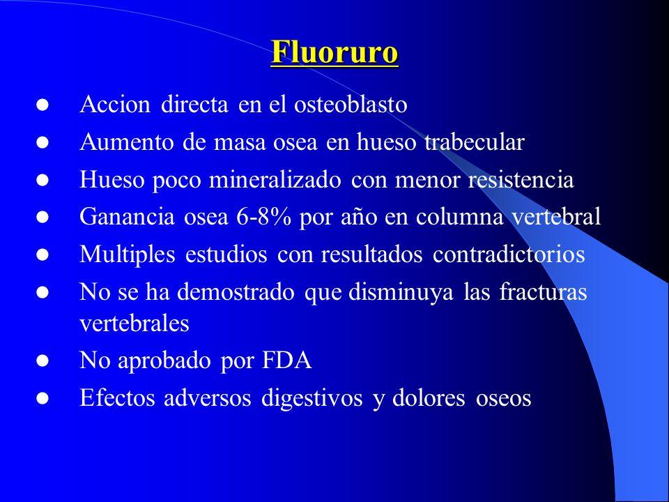 Fluoruro Accion directa en el osteoblasto Aumento de masa osea en hueso trabecular Hueso poco mineralizado con menor resistencia Ganancia osea 6-8% po