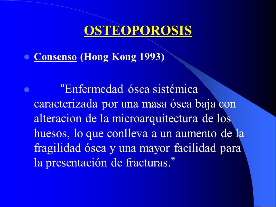 OSTEOPOROSIS Consenso (Hong Kong 1993) Enfermedad ósea sistémica caracterizada por una masa ósea baja con alteracion de la microarquitectura de los hu