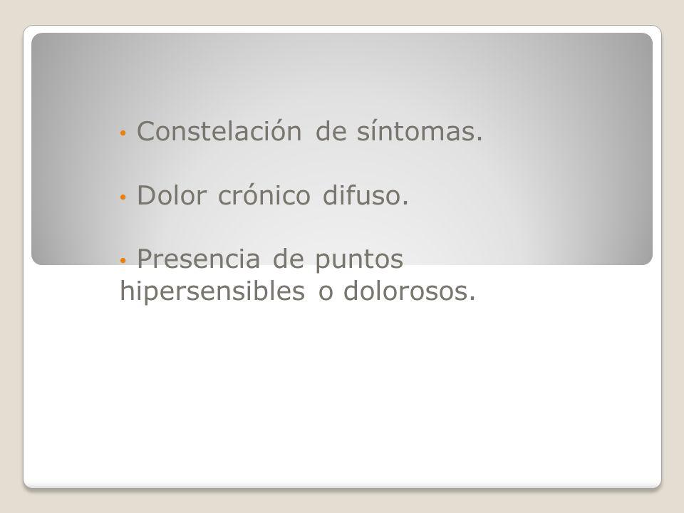 Constelación de síntomas. Dolor crónico difuso. Presencia de puntos hipersensibles o dolorosos.