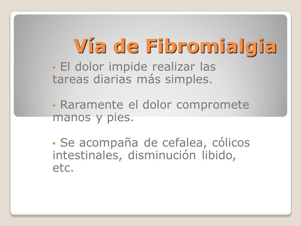 Vía de Fibromialgia El dolor impide realizar las tareas diarias más simples. Raramente el dolor compromete manos y pies. Se acompaña de cefalea, cólic