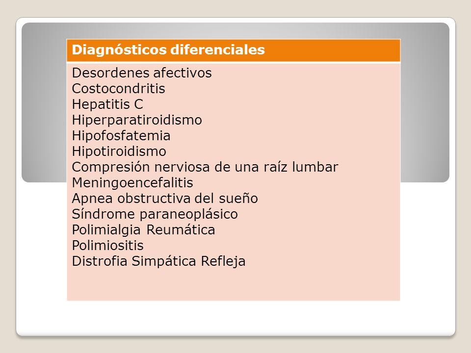 Diagnósticos diferenciales Desordenes afectivos Costocondritis Hepatitis C Hiperparatiroidismo Hipofosfatemia Hipotiroidismo Compresión nerviosa de un