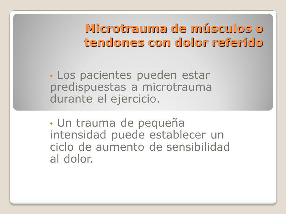 Microtrauma de músculos o tendones con dolor referido Los pacientes pueden estar predispuestas a microtrauma durante el ejercicio. Un trauma de pequeñ