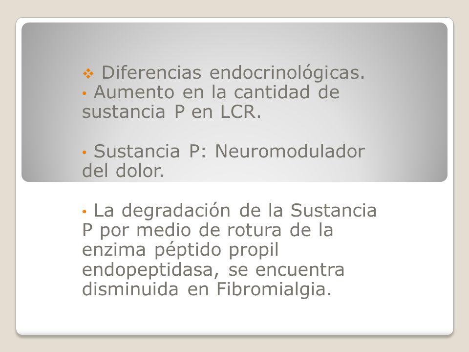 Diferencias endocrinológicas. Aumento en la cantidad de sustancia P en LCR. Sustancia P: Neuromodulador del dolor. La degradación de la Sustancia P po
