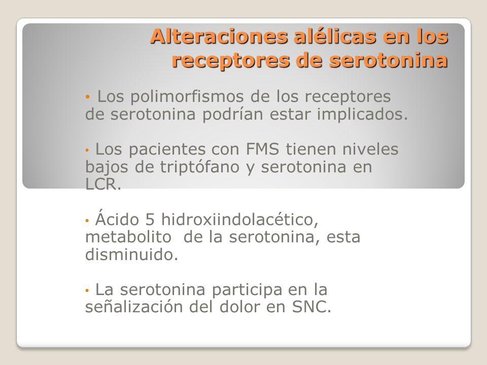 Alteraciones alélicas en los receptores de serotonina Los polimorfismos de los receptores de serotonina podrían estar implicados. Los pacientes con FM