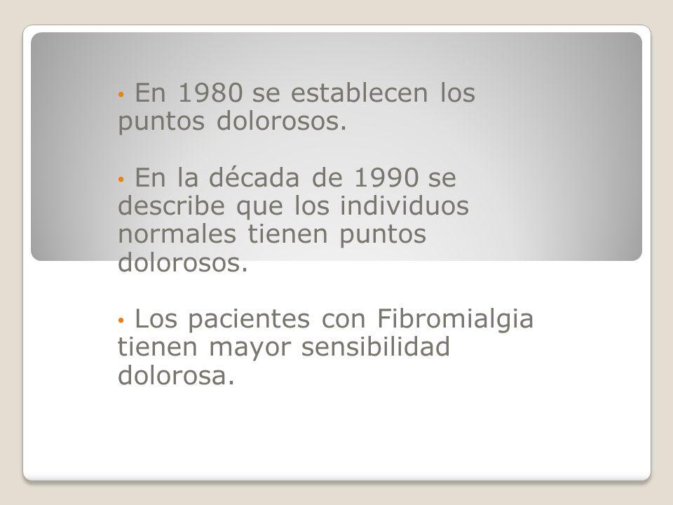 En 1980 se establecen los puntos dolorosos. En la década de 1990 se describe que los individuos normales tienen puntos dolorosos. Los pacientes con Fi