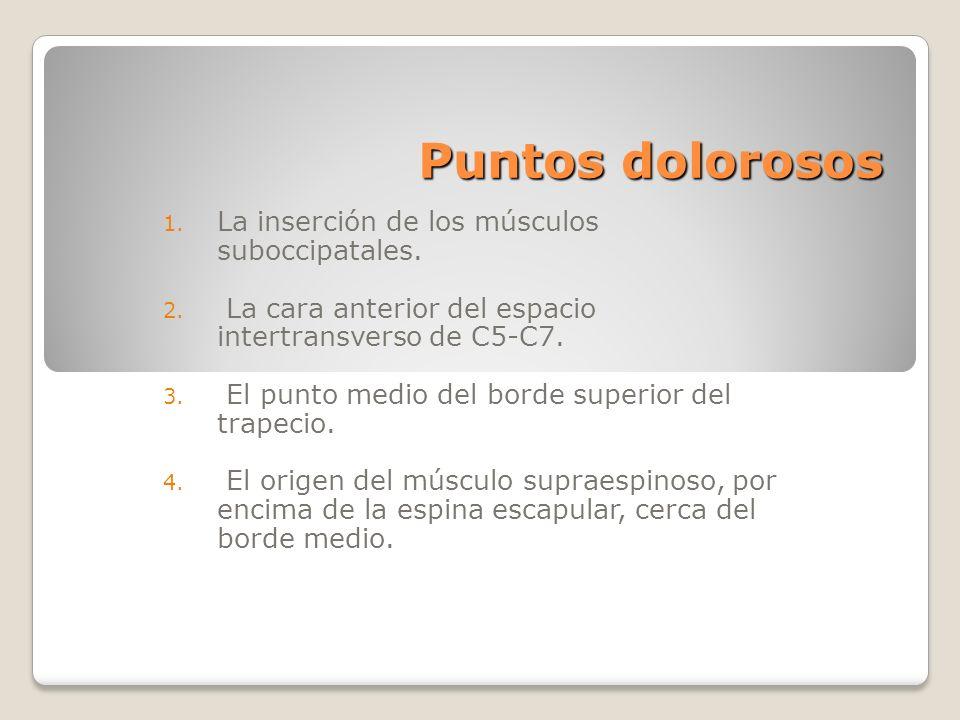 Puntos dolorosos 1. La inserción de los músculos suboccipatales. 2. La cara anterior del espacio intertransverso de C5-C7. 3. El punto medio del borde