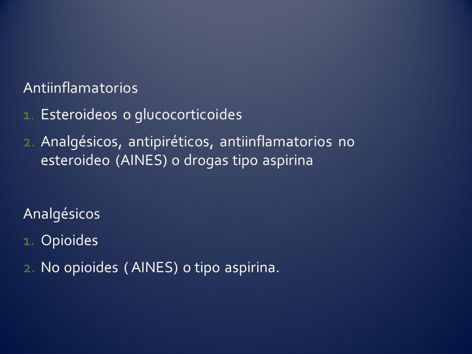 Antiinflamatorios 1.Esteroideos o glucocorticoides 2.Analgésicos, antipiréticos, antiinflamatorios no esteroideo (AINES) o drogas tipo aspirina Analgé