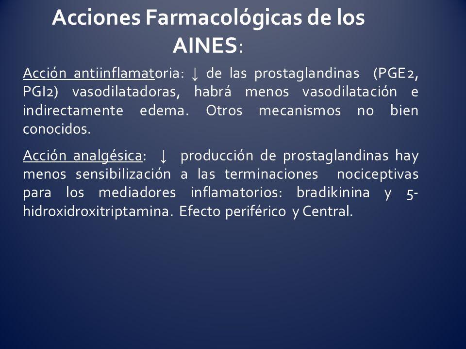 Acción antiinflamatoria: de las prostaglandinas (PGE2, PGI2) vasodilatadoras, habrá menos vasodilatación e indirectamente edema. Otros mecanismos no b